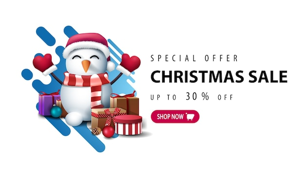 Special offer, christmas sale, up to 30 off, white minimalistic banner with blue abstract liquid shape and snowman in santa claus hat with gifts Premium Vector