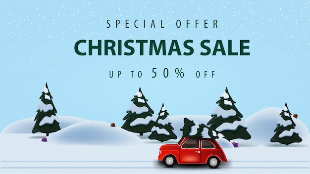 Special offer, christmas sale, up to 50% off, horizontal discount web banner with beautiful vector illustration with pine winter forest and red vintage car carrying christmas tree Premium Vector