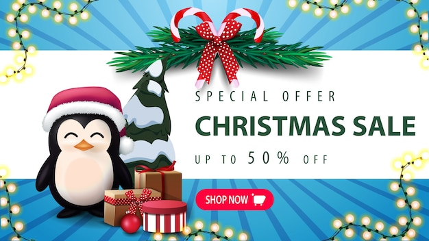特別オファー、クリスマスセール、最大30オフ。クリスマスツリーの花輪、ピンクのボタン、プレゼント付きサンタクロースの帽子のペンギン Premiumベクター