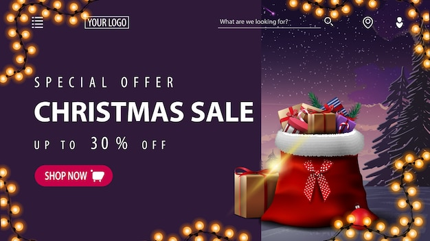 特別オファー、クリスマスセール、最大30オフ、冬の風景が描かれたウェブサイトの紫色の割引バナー、花輪、プレゼント付きのサンタクロースバッグ Premiumベクター