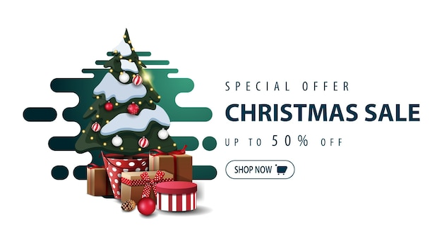 特別オファー、クリスマスセール、最大50オフ、緑の白いミニマルバナー Premiumベクター