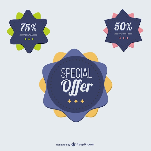 Special offer discount badges Free Vector