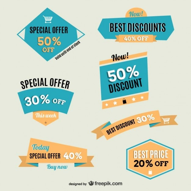 Special offer labels Free Vector
