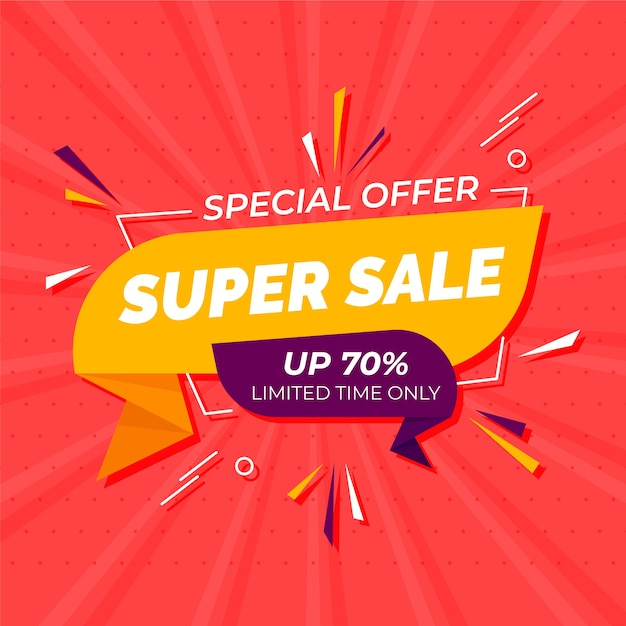 Special offer in origami style banner Free Vector