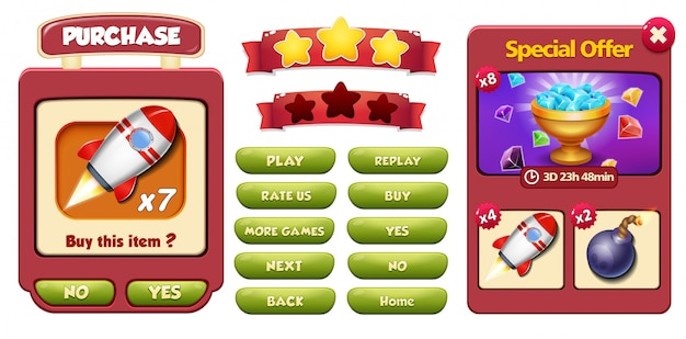 Special offer and purchase menu pop up screen with gems, rocket and bomb Premium Vector