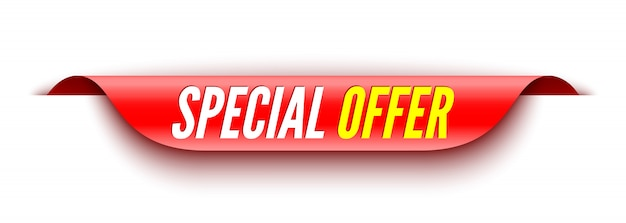 Special offer red banner. sticker. Premium Vector