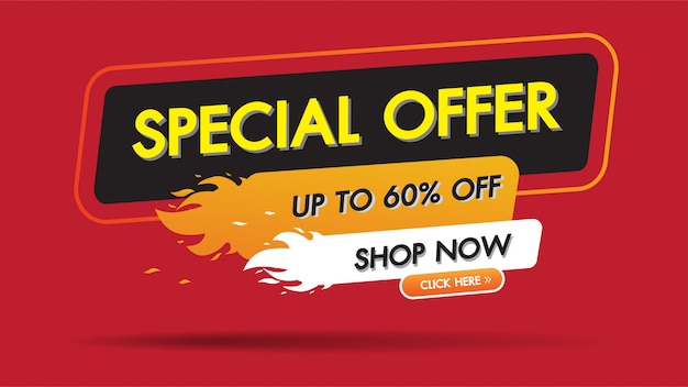 Special offer sale fire burn template discount banner promotion Premium Vector