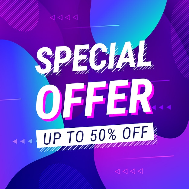 Special offer sale neon style with liquid shapes Free Vector