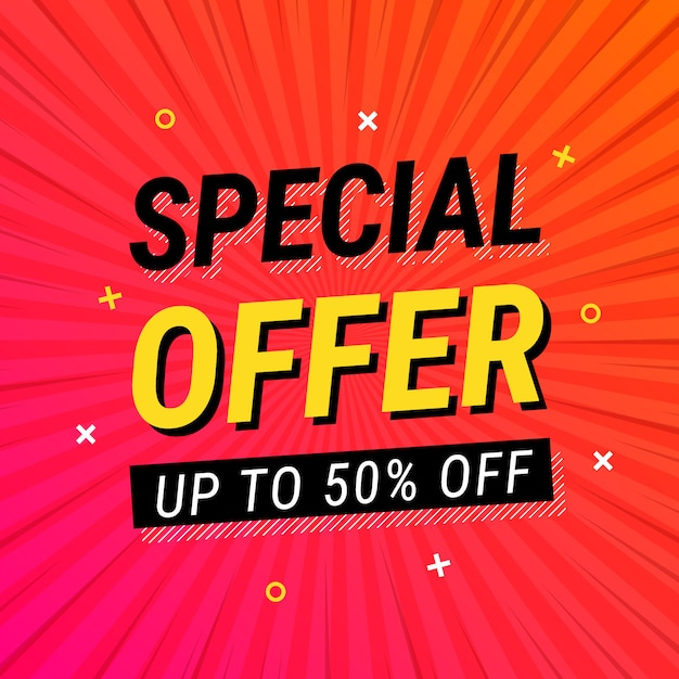 Special offer sale red comic style Free Vector