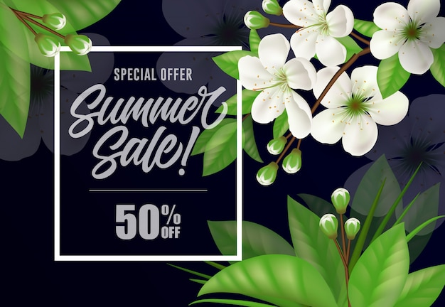 Special offer summer sale fifty percent off lettering. Free Vector