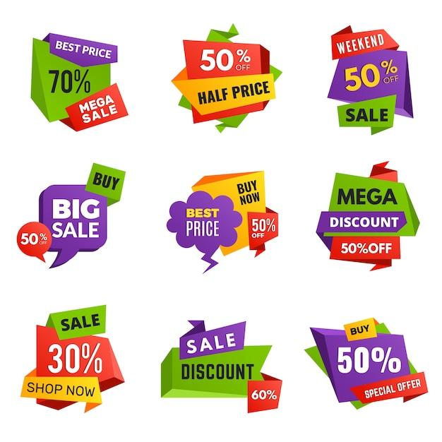 특별 제공 태그. 할인 광고 배너 베스트 셀러 홍보 텍스트 컬러 스티커 및 레이블 벡터 배지 컬렉션. 특별 프로모션 및 광고 마케팅 프리미엄 벡터