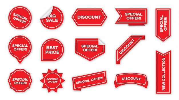 Special offer tags flat icon collection Free Vector