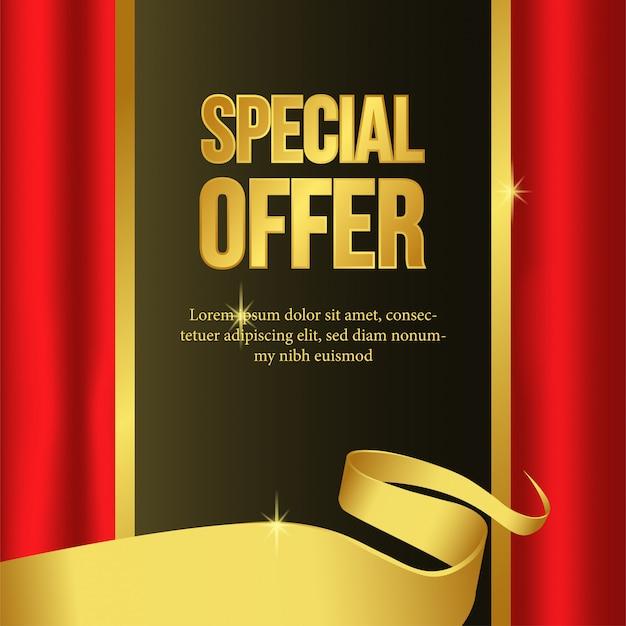 Шаблон специального предложения с золотой лентой и красной занавеской Premium векторы