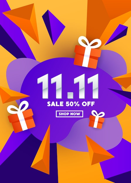 Special offer  web banner design with gift box and polygonal shapes on a gradient background for special offer, sale and discount. Premium Vector