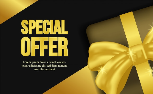 Premium Vector Special Offer With Gift Box And Golden Ribbon
