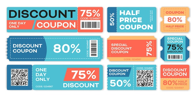 Special offers promo vouchers templates set Free Vector