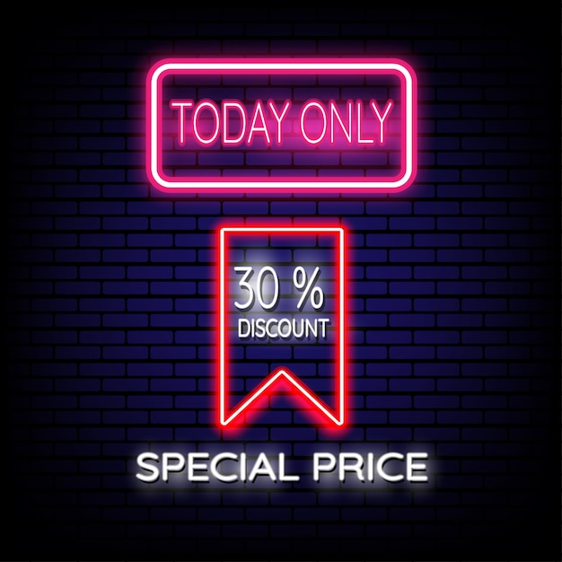 Premium Pricing: Special Price Sale Neon Sign Vector