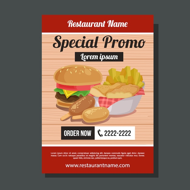 Special promo burger chips flyer template junk food Premium Vector