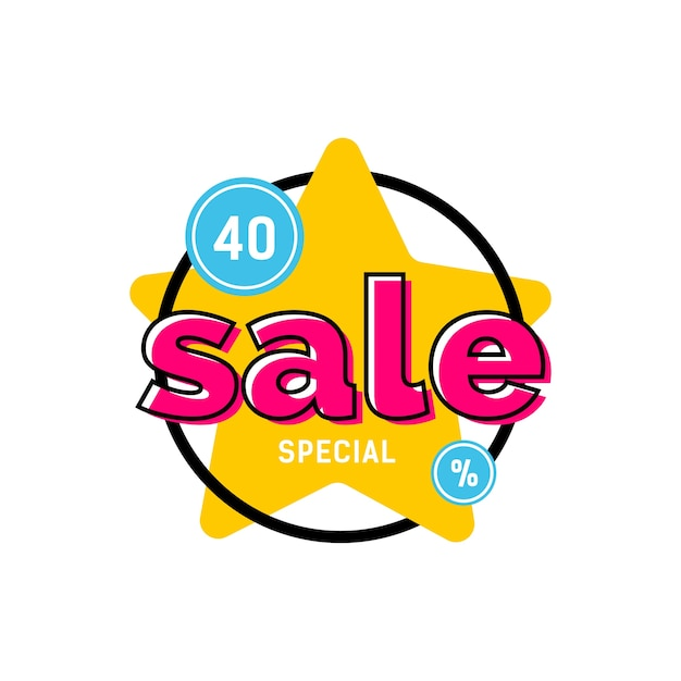Special sale lettering on yellow star Premium Vector