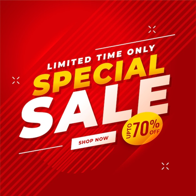 Special sale red  with offer details Free Vector