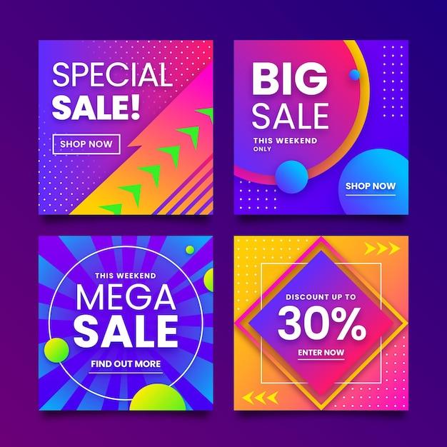 특별 판매 인스 타 그램 포스트 컬렉션 무료 벡터