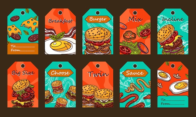 Special tag designs with burgers. sliced ingredients, sauce and fried egg on colorful background. Free Vector