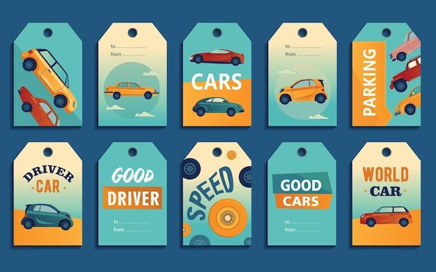 Design di etichette speciali con automobili moderne e retrò. diverse vetture su sfondo colorato con testo Vettore gratuito