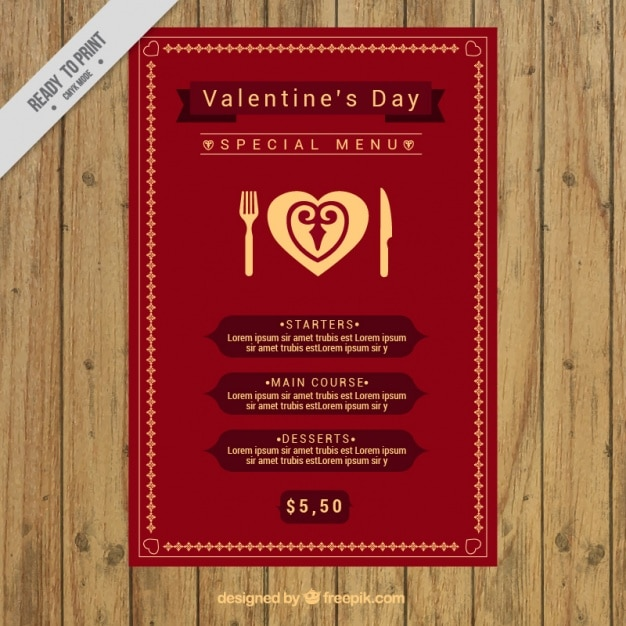 special valentine menu template vector free download