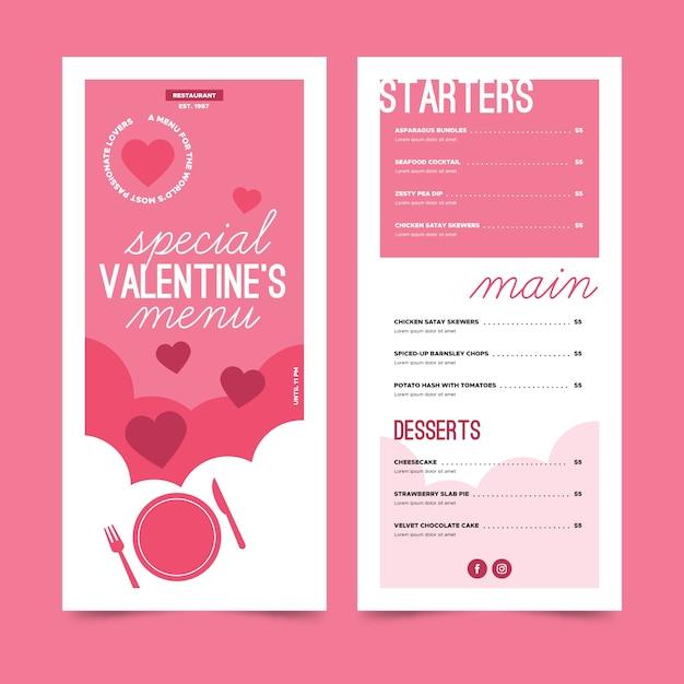 Special valentine's day menu Free Vector