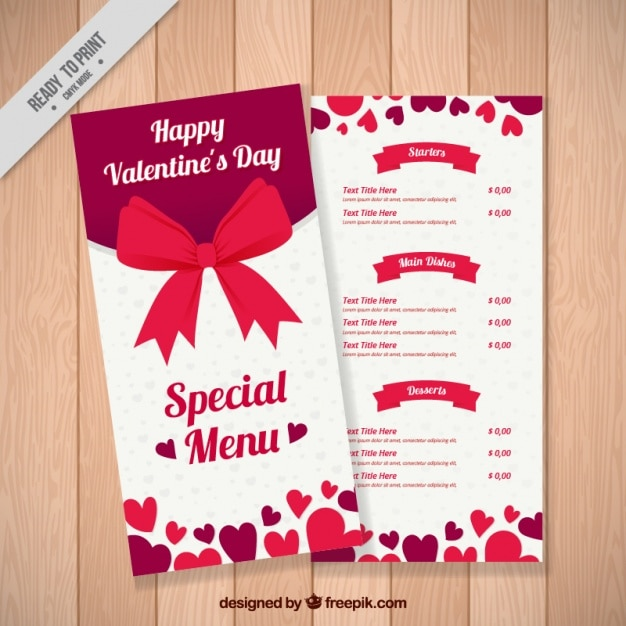 Special valentine's menu with red bow Free Vector