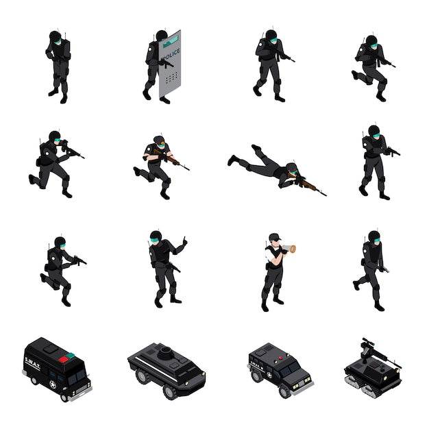 Special weapons unit isometric icons collection Free Vector