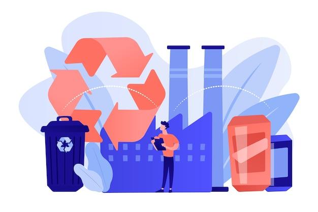 プラスチックを原材料、ゴミ箱にリサイクルするプラントのスペシャリスト。機械的リサイクル、プラスチックへのリサイクル、廃棄物の再利用の概念。ピンクがかった珊瑚bluevector分離イラスト 無料ベクター