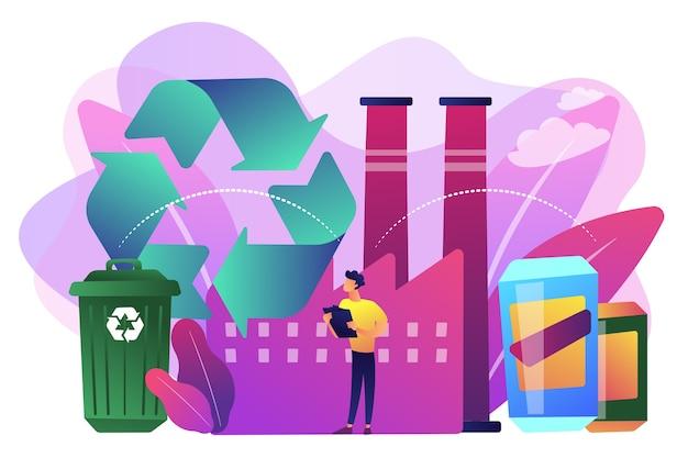 プラスチックを原材料、ゴミ箱にリサイクルするプラントのスペシャリスト。機械的リサイクル、プラスチックへのリサイクル、廃棄物の再利用の概念。 無料ベクター