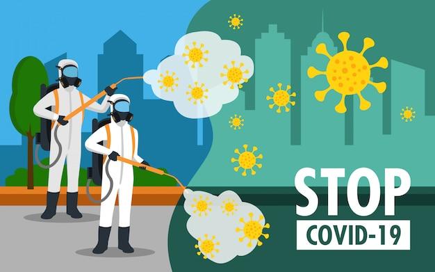 Специалист по очистке костюма хазмат дезинфицирующий коронавирус на улице Premium векторы