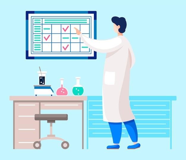 Специалист или врач, проводящий исследования в лаборатории. Premium векторы