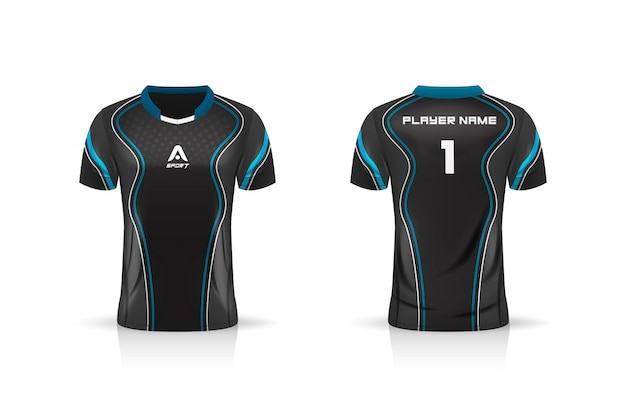 Specification soccer sport , esport gaming t shirt jersey template. Premium Vector