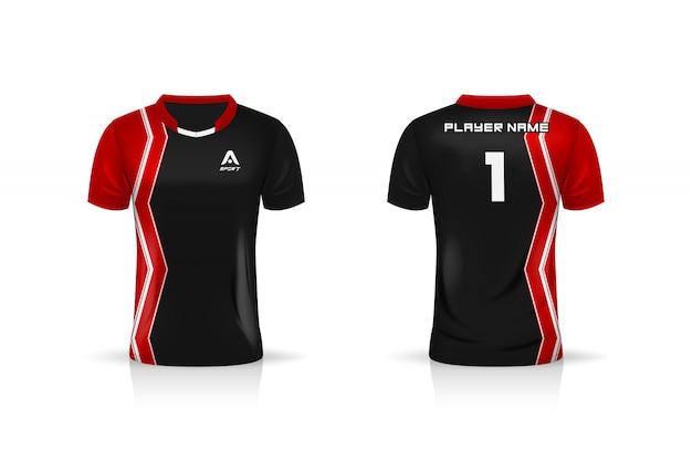 Спецификация soccer sport, шаблон esports gaming t shirt из джерси. униформа. дизайн иллюстрации Premium векторы