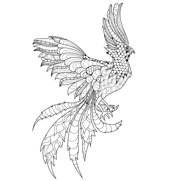 Spectacular ornamental phoenix Premium Vector