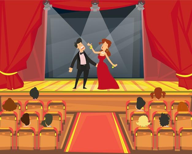 Зрители смотрят представление в театре. Premium векторы