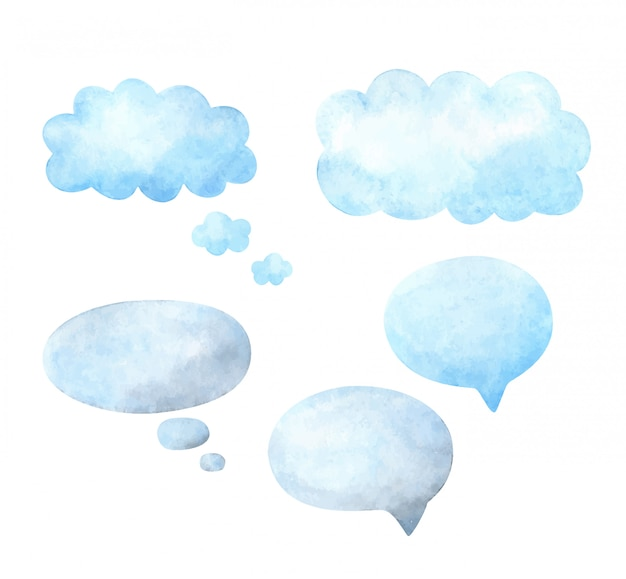 Речи воздушный шар. набор шаблонов с пространством для текста. акварельные рамки для реплик. Premium векторы