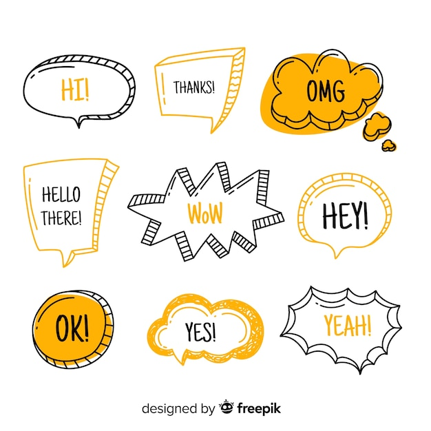 Speech balloons with modern expressions Free Vector