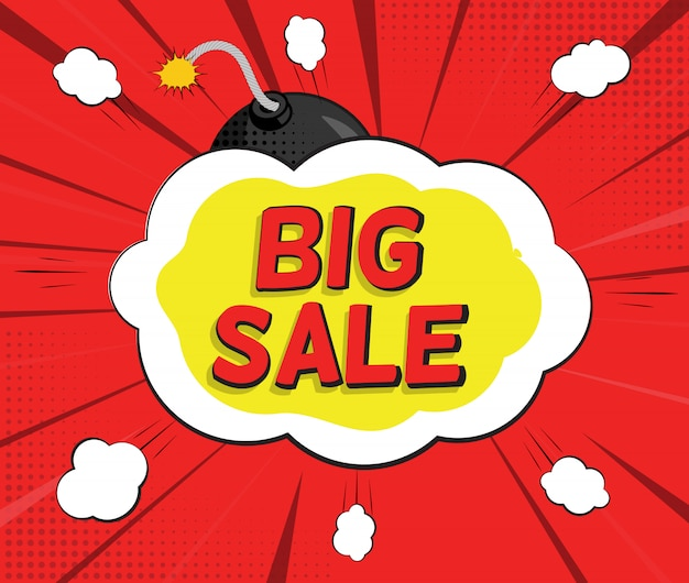 Большой баннер для продажи с speech bubble и bomb в стиле поп-арт Premium векторы