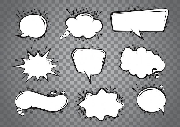 Speech bubble cartoon set Premium Vector