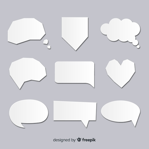 Speech bubble collection in clear paper style Free Vector