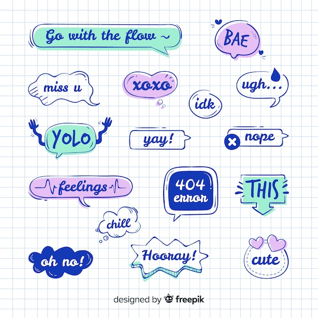 Speech bubble collection with messages Free Vector