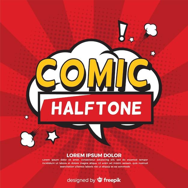 Speech bubble comic halftone background Premium Vector