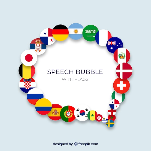 Speech bubble composition with flags Free Vector