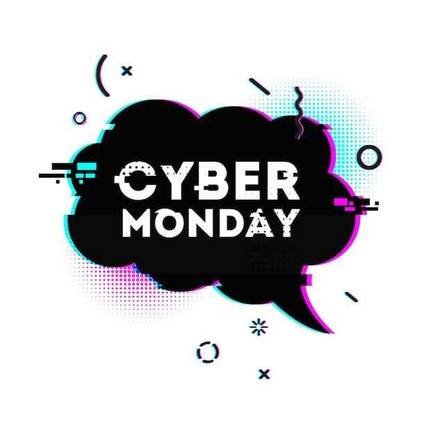 Speech bubble for cyber monday offer. Premium Vector