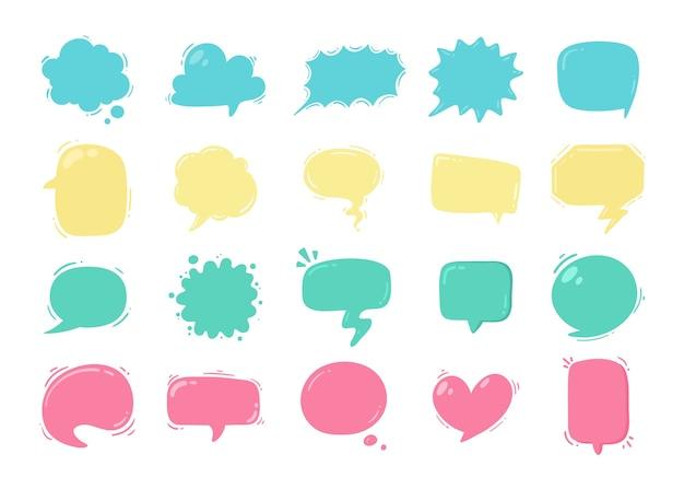 만화 캐릭터의 대화 메시지 및 생각 입력을위한 말풍선 프리미엄 벡터