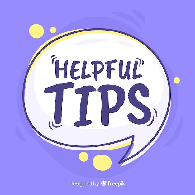 Speech bubble helpful tip background Free Vector